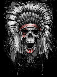 Calaca Indian Native Tattoos, Native American Tattoos, Girl Skull, Skull Girl Tattoo, Skull Art, New Tattoos, Body Art Tattoos, Tatoos, Indian Headdress Tattoo
