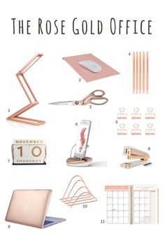 Rose gold desk accessories - rose gold scissors, rose gold stapler, rose gold pens, rose gold office supplies