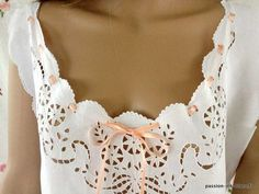 Lingerie Fine, Cutwork Embroidery, Nightwear, Sewing, Clothes, Artwork, Fashion, Blouses, Needlepoint