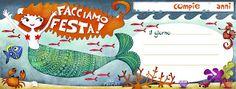 Biglietti di invito per il compleanno, con Sirena...