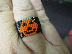 Peyote Stitch Pumpkin Ring KIT Jewelry Making by offthebeadedpath on Etsy https://www.etsy.com/listing/166763669/peyote-stitch-pumpkin-ring-kit-jewelry