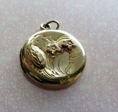 Victorian Locket with Repousse Floral Design in Gold Filled by Stetson Chain Co., For Wedding, For Love - great charming design!