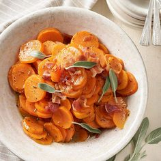 These Orange-Sage Sweet Potatoes and a delectable #fall side dish. Recipe: http://www.bhg.com/recipe/vegetables/orange-sage-sweet-potatoes-with-bacon/?socsrc=bhgpin091812orangesagesweetpotatoes