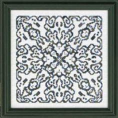 Ink Circles Ghostly Mandala - Cross Stitch Pattern. Stitch Count: 115W x 115H