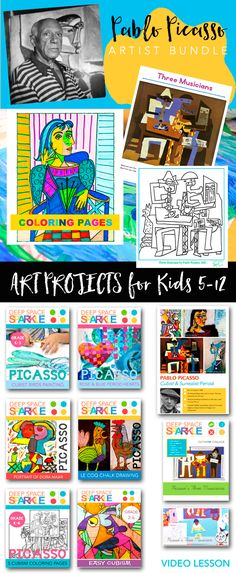 Picasso is one of my favorite artists to introduce to children. Have fun with a Picasso Art unit this summer with your kids.  Videos, coloring sheets, artist poster and impressive art projects for kids 5-12.