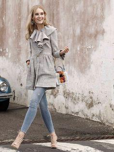burda style, Schnittmuster - Taillierter Kurzmantel mit drapiertem Rüschenkragen. Nr. 101 A aus 05-2015