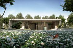 Case Study House Charles Eames and Eero Saarinen, designed in 1949 - rendered in 2015 Interior Rendering, Interior Architecture, Mountain Villa, Eero Saarinen, Houses, Cabin, House Styles, Charles Eames, Architecture