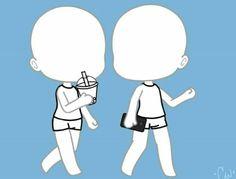Hand Drawing Reference, Anime Poses Reference, Kawaii Drawings, Cute Drawings, Drawing Sketches, Pencil Drawings, Poses Manga, Chibi Body, Drawing Body Poses