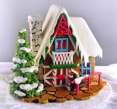 Gingerbread House - Cake by Yeners Way - Cake Art Tutorials! Darling Cute Little Gingerbread Cottage! Christmas Goodies, Christmas Treats, Christmas Baking, Christmas Fun, Christmas Cakes, Gingerbread Village, Christmas Gingerbread House, Gingerbread Cookies, Christmas Houses