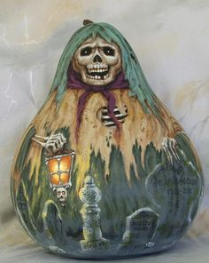 Jeepers Creepers, spooky Halloween gourd, hand painted, 11 inches tall, 8 inches diameter. $140.00, via Etsy.
