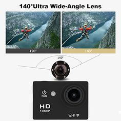 "Excelvan Y8 2"" LTPS LCD Display 30M Waterproof WiFi Full HD H264 1080p 12Mp Video DV Action Sports Camera 140° Wide-angle UK (Black)"