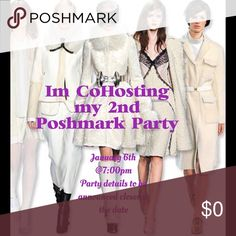 I'm Co-Hosting my 2nd Poshmark Party! I will be co-hosting a party on January 6th @ 7:00pm.  The theme of the party will be announced closer to the date.  I will be looking for great items as my host picks.  I will only pick from closets that comply with all Poshmark rules.  Come party with me, I look forward to seeing you then. Bags Crossbody Bags