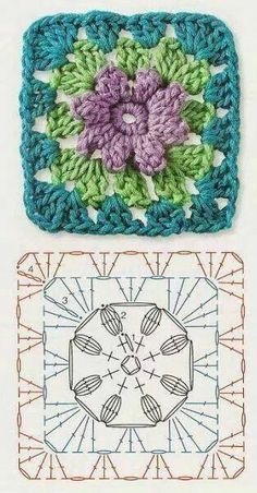 Crochet Granny Square Patterns The Ultimate Granny Square Diagrams Collection. - The Ultimate Granny Square Diagrams Collection. Crochet Motifs, Granny Square Crochet Pattern, Crochet Blocks, Crochet Diagram, Crochet Chart, Crochet Squares, Crochet Stitches, Crochet Patterns, Granny Squares