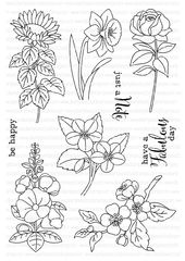 A6 clear stamp set comprising 9 separate stamps. Coordinates with Miniature Florals II Die Collection - sold separately. Inspiration for this set can be found here. Measurements (all approximate): Sunflower - 30mm x 66mm, Daffodil -...