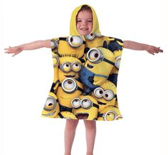 Official Despicable Me Minions Poncho Hooded Towel Girl Minion, My Minion, Minions, Minion Characters, Kids Poncho, Hooded Poncho, Despicable Me, Kids Swimming, Cartoon Kids