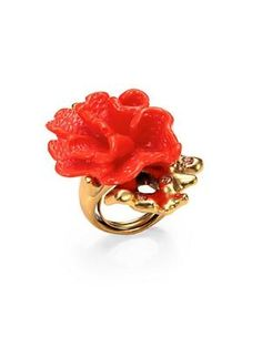 Coral Flower Cocktail Ring $195.0 by Saks Fifth Avenue