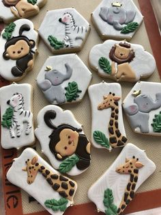 Baby Shower Decorations For Boys, Boy Baby Shower Themes, Baby Boy Shower, Animal Theme Baby Shower, Jungle Theme Baby Shower, Jungle Theme Cakes, Baby Cookies, Baby Shower Cookies, Safari Baby Shower Cake