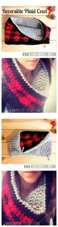 She took Whistle & Ivy's amazing pattern and created a Reversible Plaid Cowl - FREE PATTERN from www.rusticstitches.com