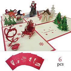 Christmas Pop Up 6 PSC 3D Cards Winter Holiday Greeting Card with Christmas Trees Santa Claus Snowflakes Reindeer Christmas Bell Gift Card for Your Friend Family Best Wished Envelops Include *** Read more reviews of the product by visiting the link on the image. (This is an affiliate link)