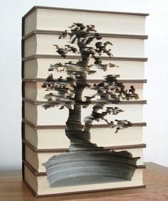 """Stacked"" Book Sculptures by KylieStillman #tree #bookart"