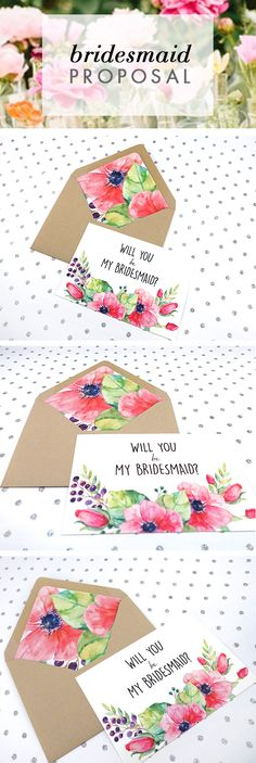 Are you planning a Garden Wedding?  Start inviting your bridesmaids with these floral bridesmaids proposal cards.