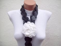 Removeable Brooch Pin Hand crochet Lariat Scarf  White by nurlu, $20.00