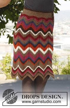 "Free pattern: Crochet DROPS skirt with zigzag pattern in ""Alpaca"". Size S-XXXL"