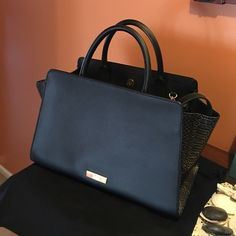 Zac Posen Gorgeous black Zac Posen gold color in each side whit handles and long shoulder strap dust bag included Zac Posen Bags Shoulder Bags