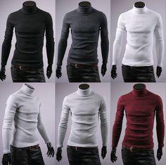 f6b154be7 Details about Korea Mens Cotton Turtle Neck Polo Turtleneck Sweater Stretch  jumper S M L XL