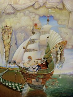 I'm in love with every painting by Vladimir Pailodze.  I wish I can live in it. Especially love the travelers theme.  www.artvpai.com