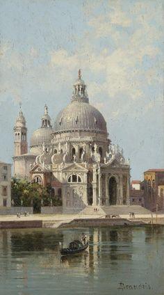 Antonietta Brandeis (Czech, 1849-1920) - Santa Maria della Salute, Venice, oil on panel, 24,5 x 14 cm.