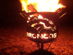 Denver Broncos compact fire pit of salvaged by YosemiteHomeFires Denver Broncos Tattoo, Denver Broncos Football, Go Broncos, Broncos Fans, Broncos Apparel, Bronco Sports, Bronco Car, Used Camping Gear, Orange Crush