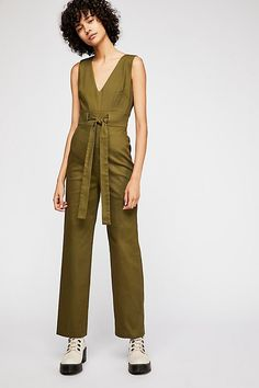 8162695f10e Bethany Jumpsuit - Army Green Sleeveless Jumpsuit with Front Tie - Fall  Jumpsuits - Fall Outfits