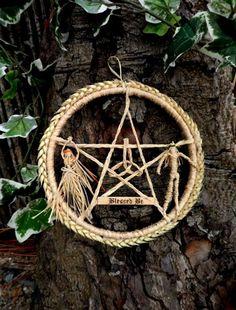 Pagan Handfasting.Handmade Lammas God Goddess Wheat Pentacle Wreath. Wiccan Lughn asadh Home Blessing. . by PositivelyPagan, £17.50
