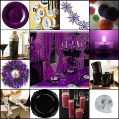 Purple Halloween Mosaic -- some very good ideas!  AND, nor shortage of glamor and bling! Halloween Fashionista Fabulous Witches Theme Party & Decorating Ideas