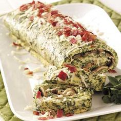 Spinach Omelet Brunch Roll - 1 slice equals 160 calories, 8 g fat (3 g saturated fat), 122 mg cholesterol, 505 mg sodium, 6 g carbohydrate, 2 g fiber, 17 g protein. Diabetic Exchanges: 2 lean meat, 1 vegetable, 1/2 fat.