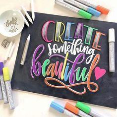 Kassa Chalk Markers for Chalkboard 10 Neon Colors Wet Erase Chalkboard Markers, Chalkboard Stickers, Chalkboard Lettering, Hand Lettering Quotes, Creative Lettering, Brush Lettering, Watercolor Lettering, Calligraphy Markers, Calligraphy Art