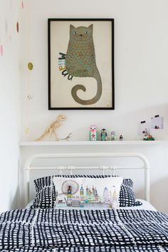Monochrome and brightly coloured Scandi inspired kids bedroom with IKEA Rast chest of drawers hack with black mountains and black raindrops designs, colorful confetti garlands, tips for Bright Creative Renter Friendly Kids Room Decor, Lulu & Nat neon bunn Girl Room, Girls Bedroom, Bedroom Decor, Bedroom Ideas, Bedroom Furniture, Furniture Ideas, Nursery Decor, Kids Decor, Home Decor