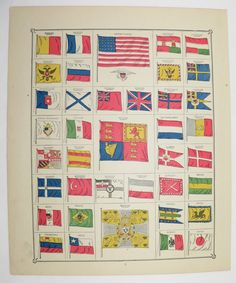Vintage Flag Print 1885 Antique Color Print Of Flags United States Flag National Flags Vintage Flagus Maptime Zonesnational