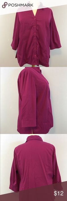 Women's Apostrophe Button Down Blouse Size 24W Apostrophe  Women's Top Size: 24W Pink Bust: 28 inches across Length from top of collar to bottom hem: 30 inches 96% Polyester 4% Spandex 3/4 sleeves Button Front Apostrophe Tops Button Down Shirts