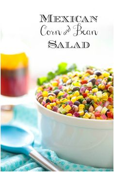 This Mexican Corn and Bean Salad is wonderful for potlucks, with chips and makes a fabulous side for sandwiches and grilled entreés. #mexicanrecipe #mexicanchopped salad #mexicansalad #salad #beansalad #easysalad #saladforacrowd #freshsalad #choppedsalad    via @cafesucrefarine