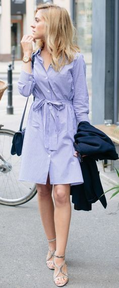 Belted Stripe Shirt Dress                                                                             Source