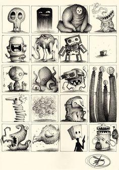 Paride Bertolin (JAB), via Behance Monster Art, Monster Sketch, Monster Drawing, Cartoon Drawings, Cartoon Art, Cute Drawings, Drawing Sketches, Monster Illustration, Illustration Art