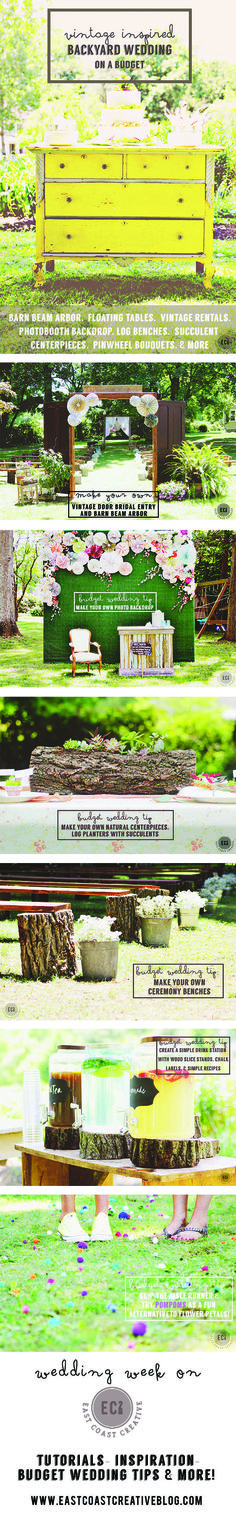 "DIY Wedding Ideas on a Budget- Vintage Inspired Backyard Wedding with lots of tutorials, ideas, and tips to stay under budget! East Coast Creative blog and ""Knock It Off"" TV show!"