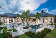 Waterside Grand in Grey Oaks Outdoor Living Areas, Outdoor Spaces, Arthur Rutenberg Homes, Boffi, Latest House Designs, Stucco Homes, Dream House Exterior, Mediterranean Homes, Beautiful Homes