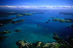 Stunning coastal scenery of the Bay of Islands, dotted with around 150 islands.