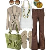 Brown, Cream & Lime Green for an accent
