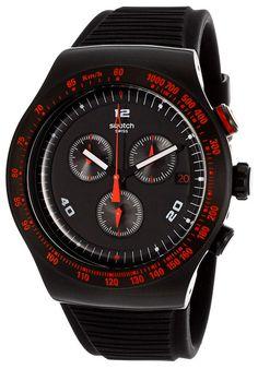 Men's Irony Chronograph Black Dial Black Silicone