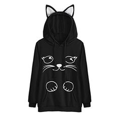 Womens Cat Long Sleeve Hoodie Sweatshirt girl Hooded Pullover Tops blusas fitness feminino Mujeres camiseta Cotton Sweatshirt Size S Color Black Sweat Shirt, Hooded Sweatshirts, Hoodies, Blouse Outfit, Pullover, Casual, Girls, Clothes, Bts Hoodie