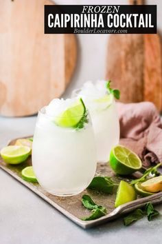 This refreshing national cocktail of Brazil is transformed into a cocktail slushie you'll love. Thirst quenching with just two ingredients! Traditional cocktail recipe also included. Skinny Margarita, Watermelon Margarita, Frozen Cocktails, Fun Cocktails, Drinks, Caipirinha Cocktail, True Lime, Strawberry Vodka, Best Cocktail Recipes